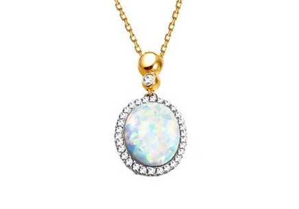 Gold opal necklace with zircons