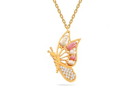 Gold necklace with butterfly