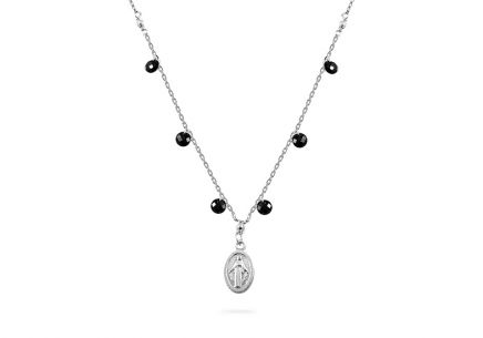 Silver necklace with medallion and black stones
