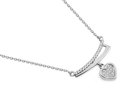 Silver necklace with zircons and heart