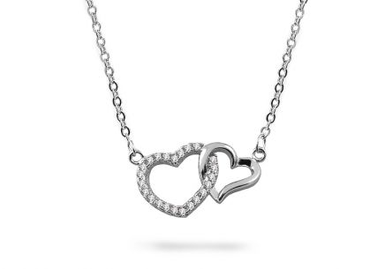 Silver necklace with zircons and hearts