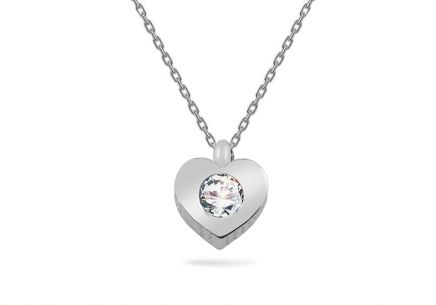 White gold necklace with zirkonia heart pendant