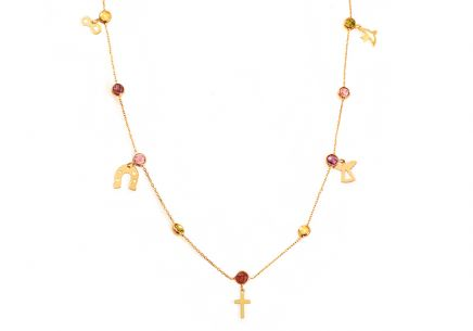 Gold Necklace with Colour Zircons and Gold Charms