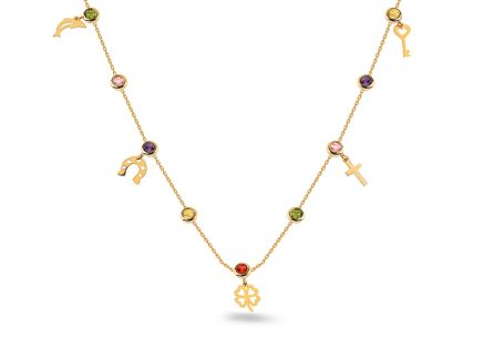 Gold Necklace with Coloured Zircons