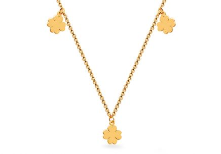 Gold necklace with four-leaf clovers