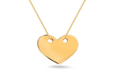 Gold necklace with heart plate