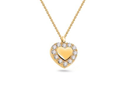 Gold heart necklace with zircons