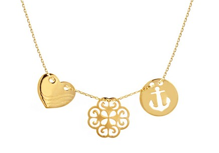 Gold Necklace with Pendants Celebrity