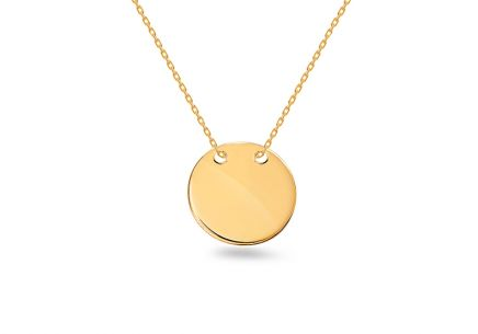 Gold necklace with round plate