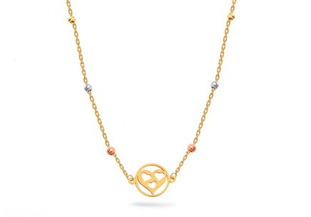 Mixed gold necklace with hearts