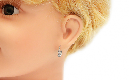 Newborn Earrings with Zircon - 1-339-0105Z - on a mannequin