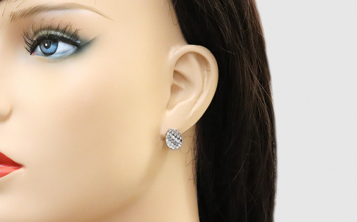 Oval Sterling Silver Earrings with Cubic Zirconia - IS3300