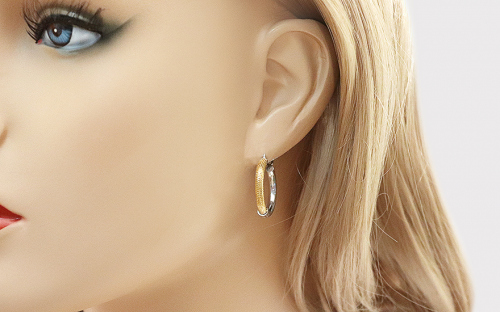 combined Silver Earrings Rhodium and Gold plated - IS247 - on a mannequin
