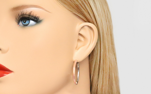Combined silver earrings with pink gold plated - IS246R