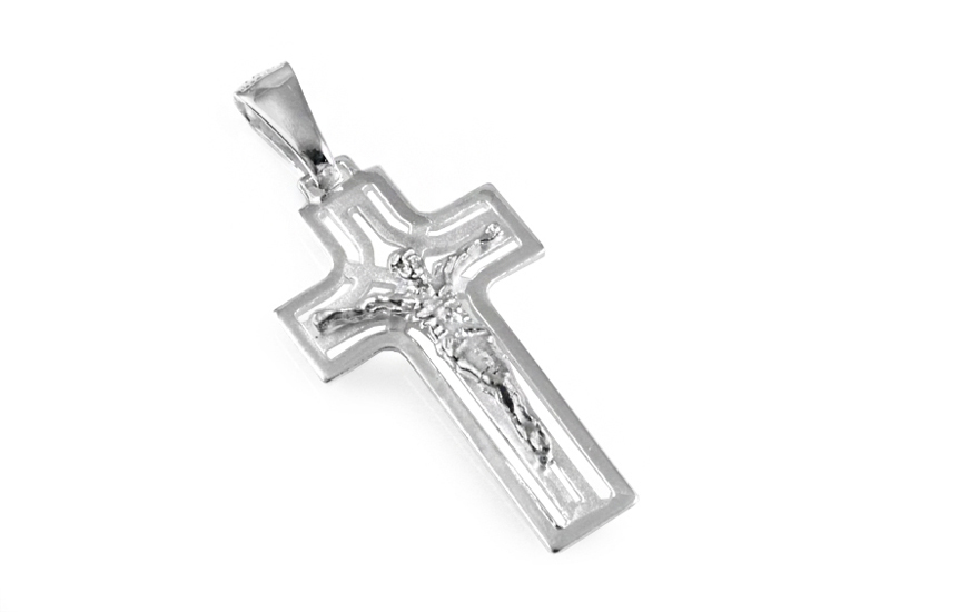 Rhodium plated Pendant carved cross with Jesus - IS1259