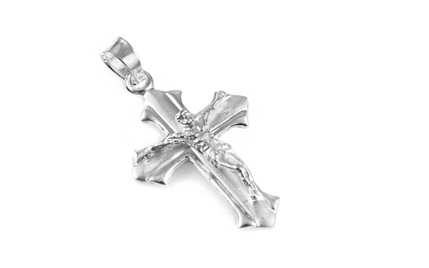 Rhodium plated Pendant Jesus on the cross with frosted - IS1261