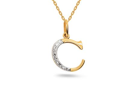 Two-Tone Gold Pendant Letter C
