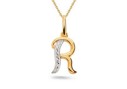 Two-Tone Gold Pendant Letter R
