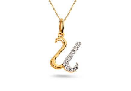 Two-Tone Gold Pendant Letter U