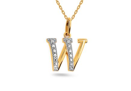Two-Tone Gold Pendant Letter W