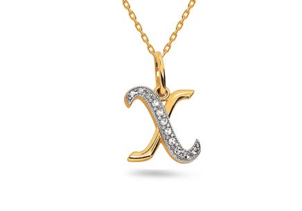 Two-Tone Gold Pendant Letter X