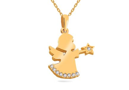 Gold Pendant Little Angel with Zircons