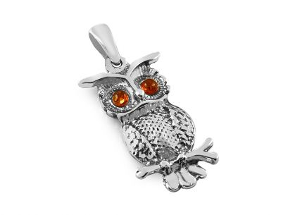 Silver owl pendant with amber