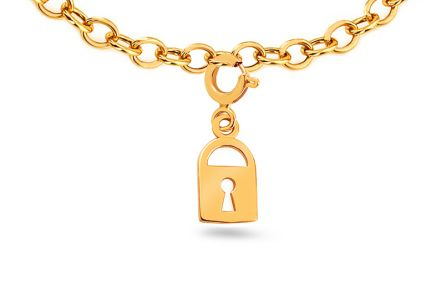 "Golden Pendant for Bracelet or Chains ""Lock"""