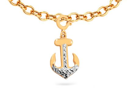 "Two-Tone Gold Pendant for Bracelet or Chains ""Anchor"""