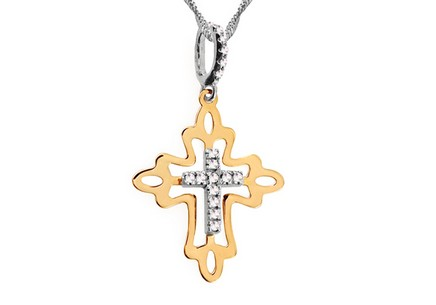 Gold cross with zircons