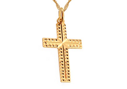 Gold Engraved Cross Pendant