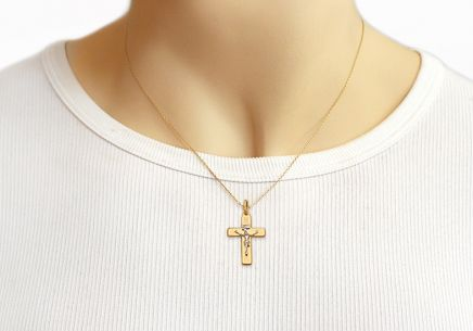Gold Pendant Christian Cross with Embossed Passion