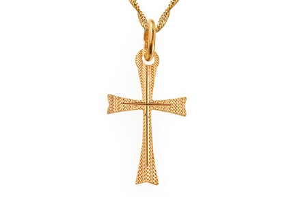 Gold cross pendant with engraving