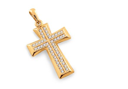 Gold Cross pendant with zircons