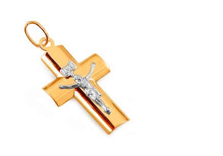 Two tone gold Cross pendant Passion of Christ