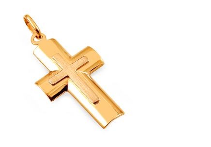 Gold pendant Cross with matted lines
