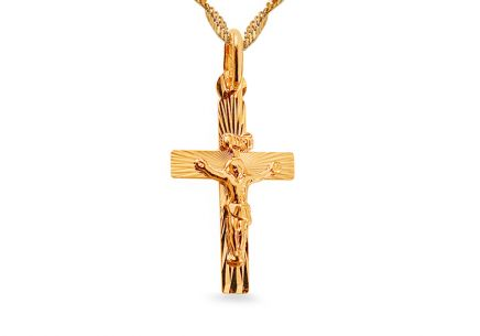 Gold engraved cross pendant with crucifix