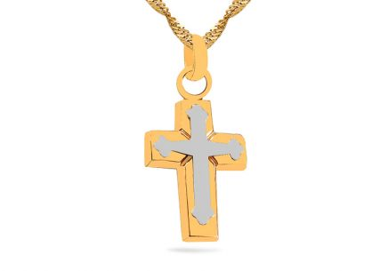 Gold two-tone pendant cross for women