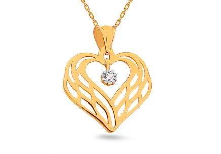 Gold heart pendant with zircon