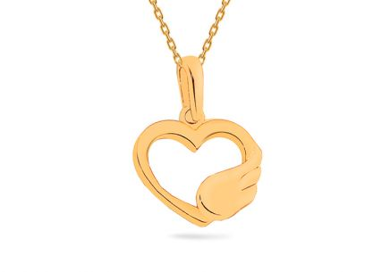 "Gold Pendant ""Heart with wing"""