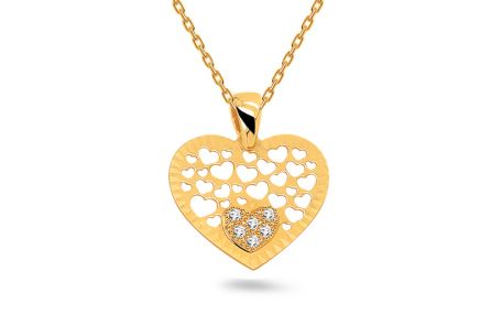 Gold Heart pendant with engraving and zircons