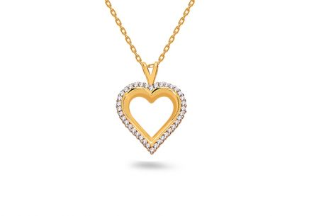 "Two-Tone Gold Pendant with Zircons ""Heart"""