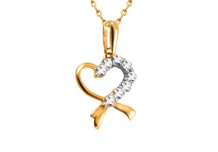 Gold heart decorated with cubic zirconia