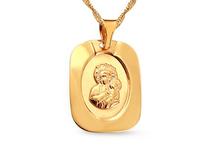 Gold Mary and Child Pendant