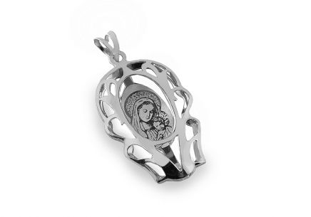 Silver Madonna and child pendant