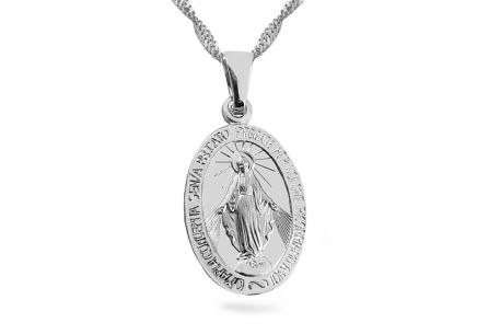 Silver Miraculous Medal of the Immaculate Virgin Mary