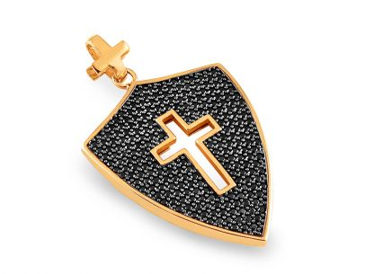 Gold Cross pendant with black zircons