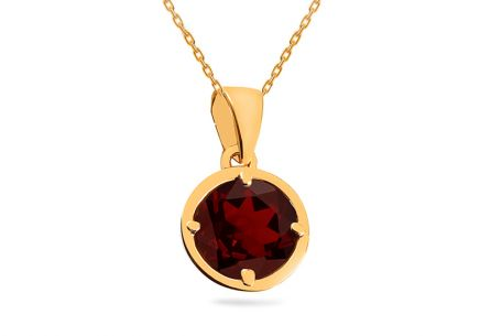 Gold pendant with natural garnet