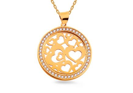 Gold plated zirconia round pendant with hearts joined together