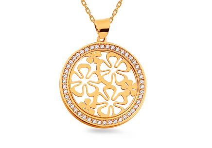 Gold circular pendant with ornamental flowers and zircons